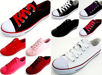 New Boys Girls Cool Color Kids Size 10-4 Canvas Lace-Up Tennis Low Top Shoes
