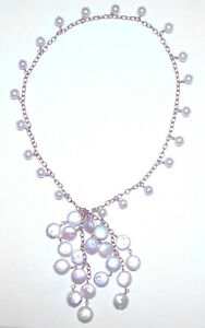 FABULOUS Gold Tone COIN & AKOYA Genuine PEARL LARIAT NECKLACE