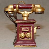 Christmas Ornament Ceramic TELEPHONE Antique Style Crank USA SELLER