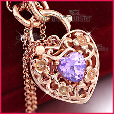 18K ROSE GOLD GF PURPLE AMETHYST CRYSTAL BELCHER HEART PADLOCK BANGLE BRACELET