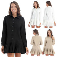 Women's Shirt Dress Long Sleeve Turn-down Button Down Casual Pleated Mini Dress