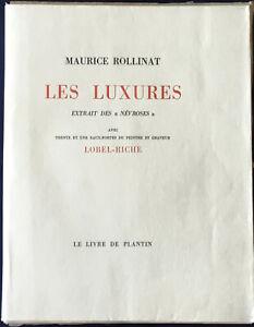 Maurice ROLLINAT. Les Luxures. Eaux-fortes de LOBEL-RICHE. 1929 + dessin