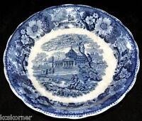 """Flow Blue Antique W. Adams Venetian Scenery 8 3/4"""" Bowl"""