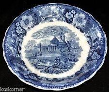 """Antique W. Adams Venetian Scenery Flow Blue 8 3/4"""" Bowl"""