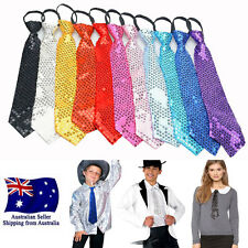 Glitter Unisex Sequin Pre-tied Necktie Zipper Tie For Fancy Party Costume Wear