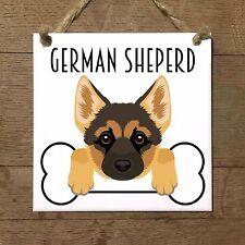 GERMAN SHEPERD PASTORE TEDESCO cane cucciolo osso piastrella targa