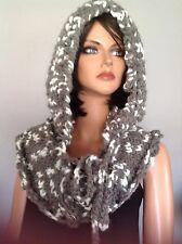 Hand Knit Hoodie Hat Slouch Beanie Neckwarmer Designer Fashion  Chic Hip Chunky