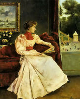 Oil painting Alfred Stevens - chez soi young girl holding fan at home on sofa
