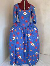 Barock Rokoko Rokokokleid Baumwolle Blau Blumen Druck Gr L  42 44 Kostüm Kleid