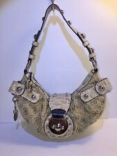 Guess Handbag Tan X Signature Small Pre-owned Clutch Hobo Tiny Bag