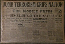 "Two 1931 Mobile, Alabama Newspapers / ""Bomb Terrorism Grips Nation"""
