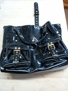 MULBERRY ROXANNE LARGE BLACK PATENT LEATHER TOTE BAG