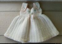 Vintage Baby Infant Wool Dress Jumper Pearl Buttons Embroidered Cream Pink