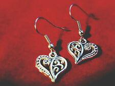 Filigree Heart Earrings Love Honesty - Bohemian Ethnic Hippy, Front Facing Heart