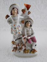 Vintage Porcelain Bud Vase Figurine Couple & Goat w/ Applied Spaghetti Flowers