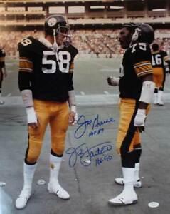 Joe Greene & Jack Lambert Signed Pittsburgh Steelers 16x20 Photo HOF JSA 11460