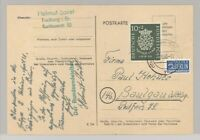 Bund, Karte mit Mi.Nr. 121, 10 Pfg. Bach 1950 als EF aus Freiburg (26086)