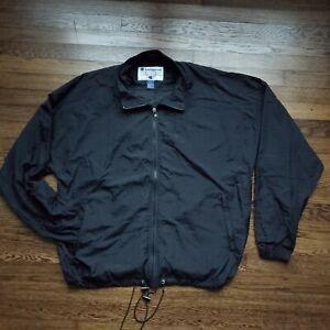 Vintage Champion Track Jacket Windbreaker Mens XL Nylon Black Zip Up Retro 90s