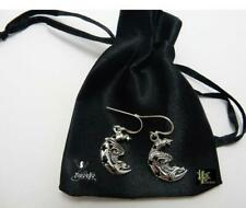 Silver Sleeping Dragon on Moon Earrings Lisa Parker Sterling Licensed Product