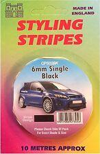 BLACK 6MM PIN STRIPE COACHLINE TAPE x 10 METRE CAR,BOAT,BUS,CARAVAN