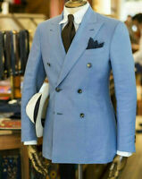 Blue Men's Suit Double Breasted  Party Prom Peak Lapel Tuxedos Wedding Suits