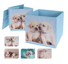 4x Boxen Aufbewahrungsboxen Stoffbox Sortierbox Einschubbox Faltbox Hunde Katzen