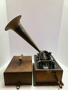 Antique Working 1898 EDISON Standard 'Suitcase' Oak Wind-Up Cylinder Phonograph