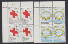 IRELAND, Scott #746-747: Plate Blocks(2), Used - 1989 Red Cross/Elections
