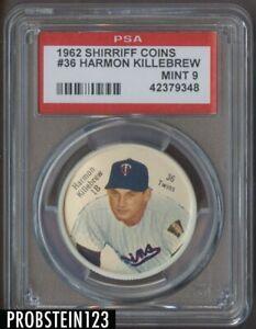 1962 Shirriff Coins #36 Harmon Killebrew Minnesota Twins HOF PSA 9 MINT