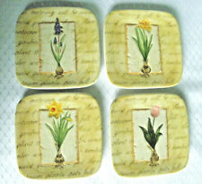 MWW Market FESTIVAL OF FLOWERS Mini Plate Set of 4 Crccus, Daffodil, Tulip