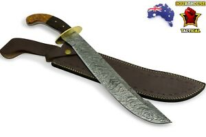 Handmade Kambantuli Sword, Damascus Blade, Walnut Wood & Brass Handle, Sheath