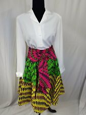 "Women African Ankara Print High Waist 37"" Maxi Short Skirt With Front Bow SIZE12"
