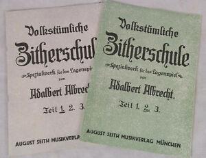 Volkstümliche Zitherschule Bd. 1+2 A. Albrecht Seith Verlag Zither Zithernoten