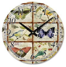 Retro Vintage Butterfly / Bird Design 39CM Round Shabby Chic Wall Clock.New