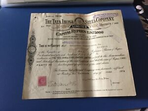 1908 TATA IRON N STEEL COMPANY SHARE CERTIFICATE