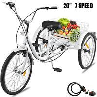 """Adult Tricycle 20"""" 3-Wheel 7-Speed Trike Bicycle Cruise Free Lock W/ Basket AU"""