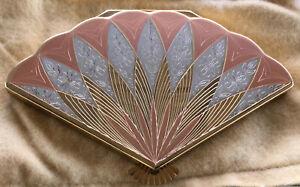 Vtg 40's-50's WADSWORTH Compact fan shaped gold rose tone Premo Excellent Shape