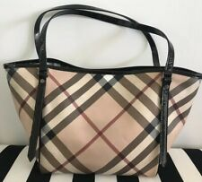 Burberry Womens Shoulder Tote Bag Novacheck Beige With Pouch Authentic