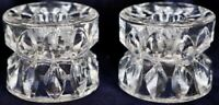 Vintage Retro Pair of Candlestick Pleated Glass Candle Holders