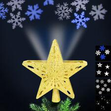 Puntale Proiettore a LED per Albero di Natale Forma Stella Oro 4 Giochi di Luce