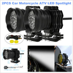 2PC DC12V Motorcycle Aluminum Alloy Colorful Lens LED Off-road Car Spotlight 50W
