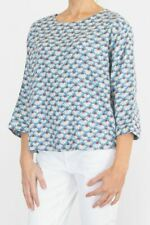Womens Seasalt Top Blue Summer Floral Feature Film Relaxed Fit 3/4 Sleeve