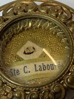 """† SCARCE ANTIQUE """"STE C LABOUR'E"""" RELIC TOUCHED BODY & SEALED THECA HOLDER †"""