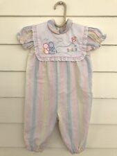 Vintage Baby Girl Rumper Pants Size 6-12 Months Pink Stripes Jumper White Bib