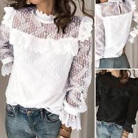 Women Long Sleeve Turtleneck Ruffles Collar Lace Patchwork Shirt Slim Top Blouse