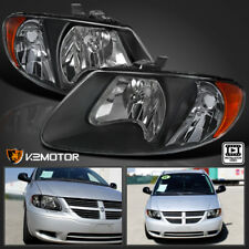 2001-2007 Dodge Caravan Chrysler Town & Country Black Replacement Headlight PAIR