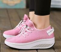 Breathable Womens Shape Ups Fitness Walking Comfort Sport Shoes Lace Up Sneakers
