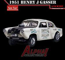 """SUNSTAR SS-5099 1:18 1951 HENRY J KAISER GASSER  """"FISTFULL"""" WHITE NHRA"""