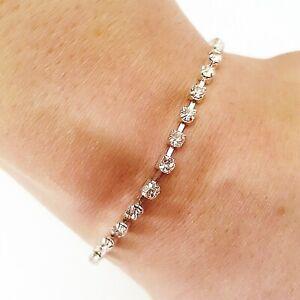 Ladies Bracelet Silver Diamante Diamonte Sparking Crystal Lightweight Stylish