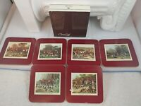 Vintage Clover Leaf Hunting Scenes 6 4 Inch Cork Coasters With Box